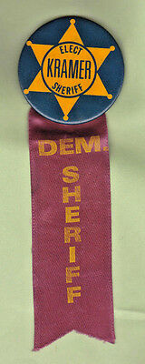 Elect Kramer Dem Sheriff Pin With Ribbon Democrat Democratic Political Badge