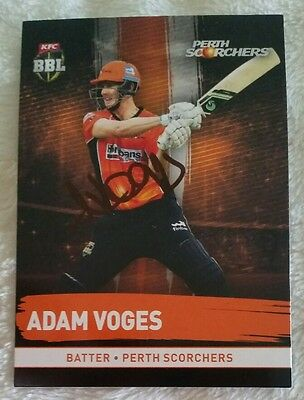"ADAM VOGES CRICKET SIGNED IN PERSON Tap n play BBL CARD ""BUY GENUINE"""