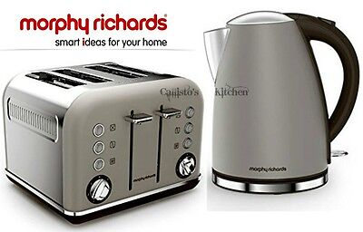 Kettle and Toaster Set Morphy Richards Accents Jug Kettle & 4 Slot Toaster Grey