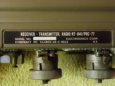 Rt-841  Prc-77 Electrospace  Radio Replacement Data Plate