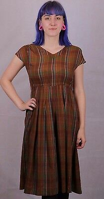 Vintage 1980's Does 40's Brown Tea Dress Size 8 To 10 Downtown Abby Goodwood