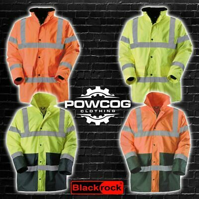 Blackrock Hi Vis Visibility Two Tone Jacket Coat Waterproof Work Wear Hi Viz