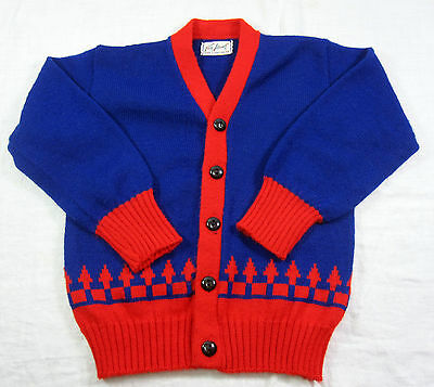 Toddler Boy Blue and Red Tog About Cardigan Sweater Vintage 1950s Turbo Orlon