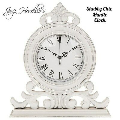 SHABBY CHIC White Distressed Mantel CLOCK Antique French Vintage Ornate clock