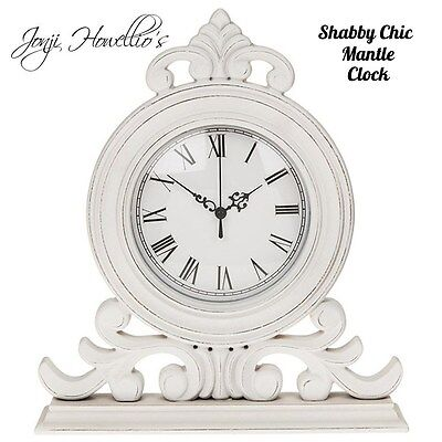 SHABBY CHIC White Distressed Mantle CLOCK Antique French Vintage Ornate clock