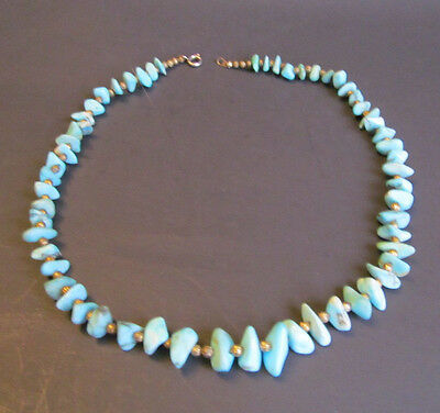 Vintage Turquoise Nugget and Gold tone bead Choker Necklace 16 in long