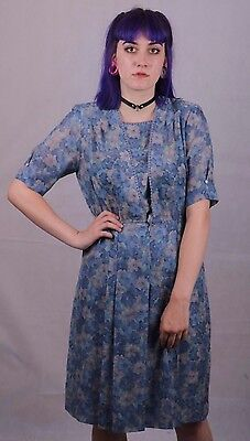 Vintage 1980's Does 40's Blue Tea Dress Size 8 To 10 Downtown Abby Goodwood