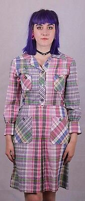 Genuine Vintage 1960's Pink Blue Checked Mod  Shirt Dress Size 8 To 10