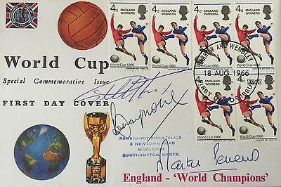 England 1966 World Cup First Day Cover Signed Bobby Moore Hurst Peters Fdc