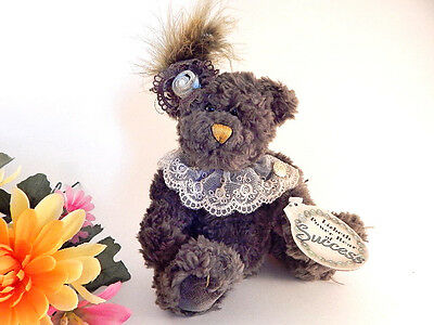 Teddy Bear Lizbeth Power Bear of Success Brass Button Plush Stuffed Animal Gift
