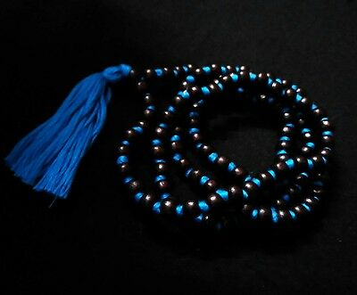 Tulsi Mala Wooden Knotted 108 Beads Black Necklace Rosary Jap Mantras Meditation