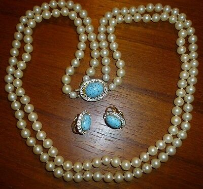 Art Deco Faux Pearl Necklace Rhinestone Turquoise Earrings Set Signed Japan