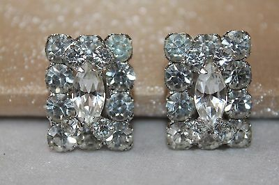 Art deco vintage silver rhodium plated crystal clip on statement earrings