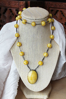 100g RARE ART DECO VINTAGE MARBLE EGG YOLK GLASS BEAD STERLING SILVER NECKLACE