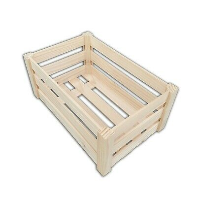 5 x Wooden Plain Crates Decoupage Tray With Handles Handling Storage SRD