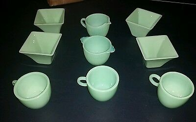 9 Vintage Jadeite Green Dishes Miscellaneous Items Free Shipping