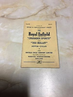 Royal Enfield 1963 Crusader Sports / 350 Bullet Spares List 10-00613 [3-86]