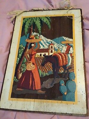 Vintage Mission  Mexican Church Street scene Lithograph Redwood California Plank