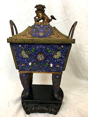 Chinese Cloisonne Incense Burner, Qinlin, Bronze, Ca. 1900, Late Qing Dynasty