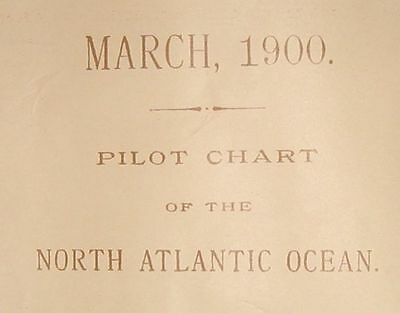 1900 Antique Nautical Sea Sailing Chart Map Atlantic USA Canada Europe Africa #1