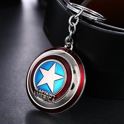 Avengers Captain America Shield Double-sided Whirling Key Ring Chain Metal