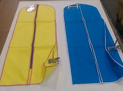 2  Bridal Wedding Gown Dress Garment Bags blue/white trim and yellow/with pink