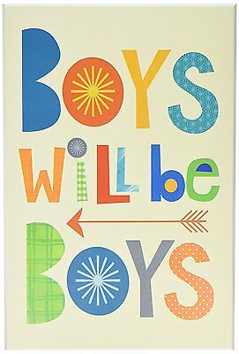 """The Kids Room by Stupell """"Boys will Be Boys Multi-Color with Arrow"""" Wall Plaque"""