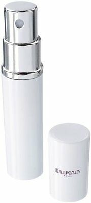 Balmain White and Silver Compact Perfume Atomiser. Great for Travel or Handbag
