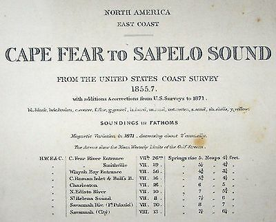 1862 Antique Nautical Sea Sailing Chart Map Cape Fear Sapelo Sound US Admiralty