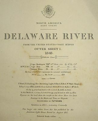 1848 Antique Nautical Sea Sailing Chart Map Delaware River New Jersey Admiralty