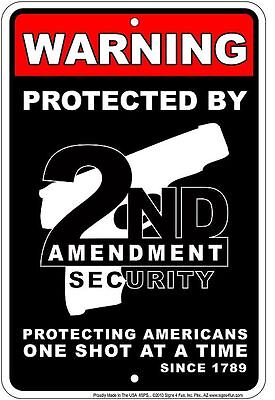 WARNING Protected by 2nd Amendment sign for Western Country Music Rodeo nra fan