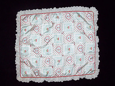 American Girl Bitty Baby Baby Doll Blanket Red Aqua Hearts Quilted Eyelet Trim