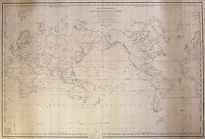 1835 Antique Nautical Sea Sailing Chart Wall Map World Mercator