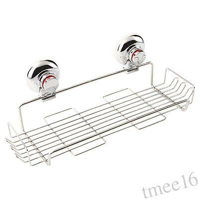 Bathroom Suction Cup Storage Shelf Organiser Rack Stainless Steel Caddy Holder