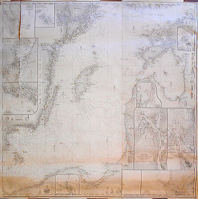 1862 Antique Nautical Sea Sailing Chart Map Baltic Sea Eastern Portion (1883)