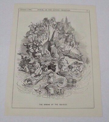 Antique Print 1882 Punch Or The London Charivari 'the Sirens Of The Seaside'
