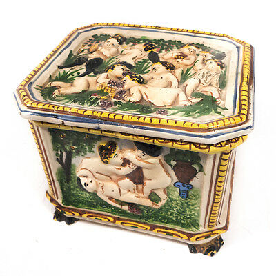 Antique Nude Scenes Capodimonte Footed Box Jewelry Trinket Porcelain Box 4.50""