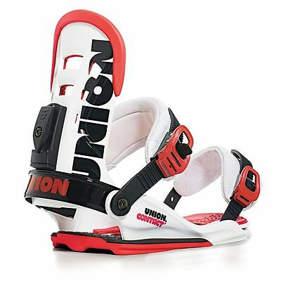 Union Contact Snowboard Bindings, White/Red
