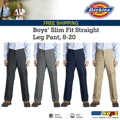 Dickies QP873 Boys' Slim Fit Straight Leg School Uniform Twill Pants ALL SIZES