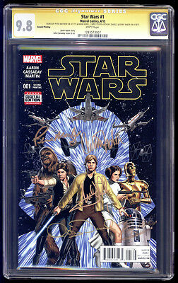 Star Wars #1 2nd SS CGC 9.8 Fisher Hamill Daniels Baker & Mayhew 2015
