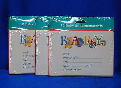 BABY Birth Announcements 30 Cards With Envelopes for Boy or Girl