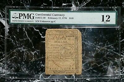 1776 $1/6 Continental Currency Ben Franklin Designed Fugio Note PMG Fine 12