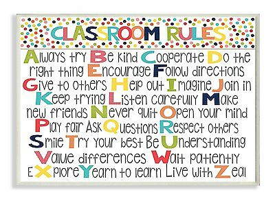 The Kids Room by Stupell Classroom Rules Colorful Alphabet Wall Plaque Art