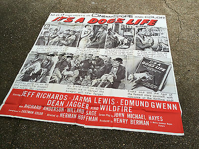 ITS A DOGS LIFE 1955 Orig 6sh Movie Poster Wildfire the Bull Terrier Fantasy