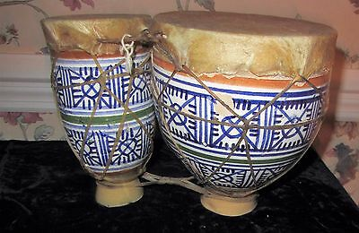 Vintage Large Glass Ceramic Double Bongo Drums Multicolor Goatskin Head; Morocco