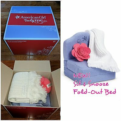 American Girl Sit and Snooze Foldout Bed Pillow Blanket Retired NEW IN BOX