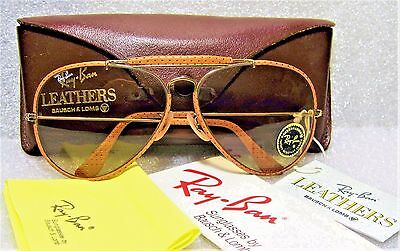 """Ray-Ban *nos B&l Vintage Aviator """"ostrich"""" Leathers *changeables *new Sunglasses"""