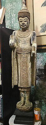 "Very TALL Standing VINTAGE HAND CARVED AND PAINTED WOOD BUDDHA ~ 48"" Tall"