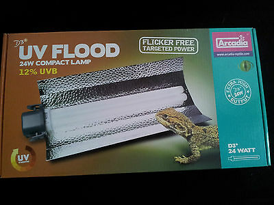 Arcadia 12% Reptile  UV Compact  Flood Light/Vivarium/Terrarium/Tortoise Table