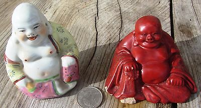 Two Beautiful Antique Chinese Buddha Figures Statues Cinnabar & Porcelain